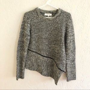 Anthro John + Jenn Marled Asymmetric Zip Sweater M